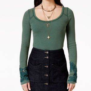 Free People Green Masquerade Cuff Thermal Top